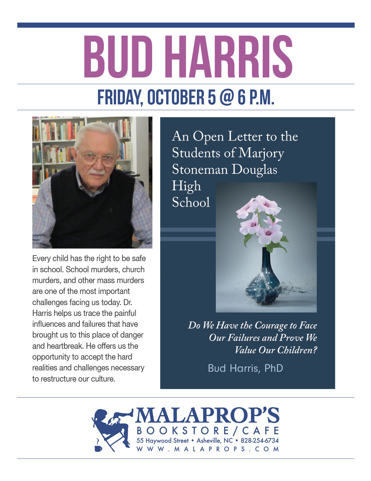 Bud Harris PhD presents his new book at Malaprop's Bookstore in Asheville