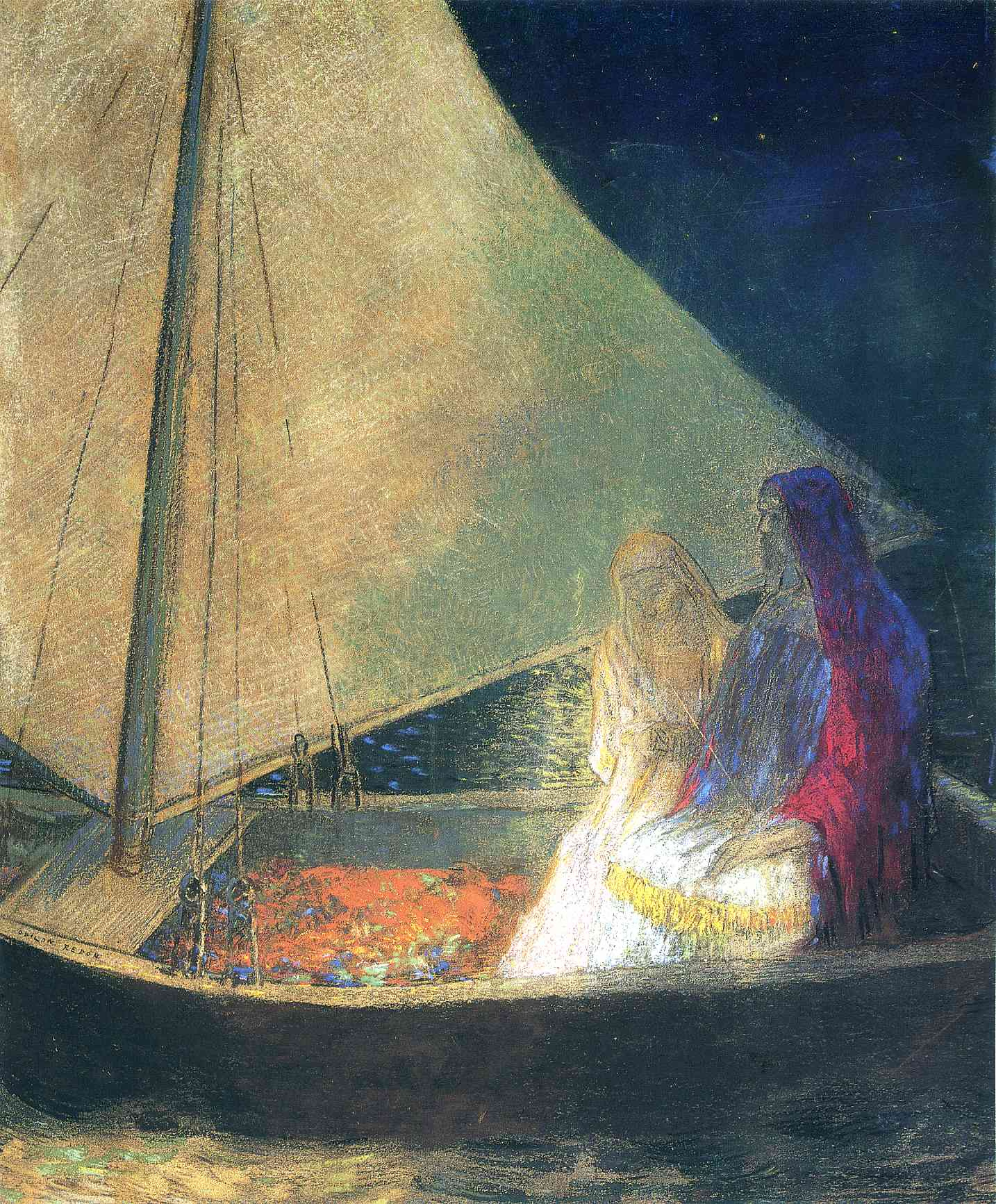 Boat with Two Figures, painting by Odilon Redding