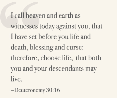 I call heaven and earth as witnesses today against you, that I have set before you life and death, blessing and curse: therefore, choose life, that both you and your descendants may live. —Deuteronomy 30:16