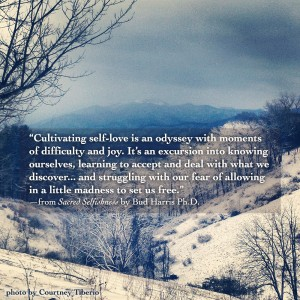 """Cultivating self-love is an odyssey with moments of difficulty and joy. It's an excursion into knowing ourselves, learning to accept and deal with what we discover... and struggling with our fear of allowing in a little madness to set us free."" —from Sacred Selfishness by Bud Harris Ph.D."