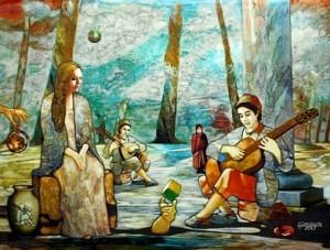 Le Ruban De Mobius, painting by Layachi Hamidouche