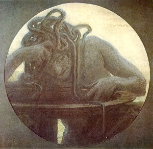 Medusa, painting by Maxmilian Pirner